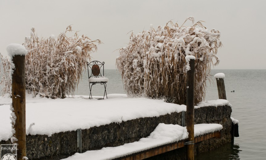 Fraueninsel, chaise sous la neige